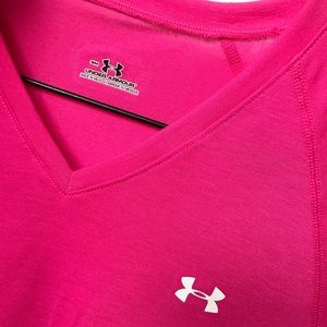 Pink Under Armour dry fit women's v-neck tee